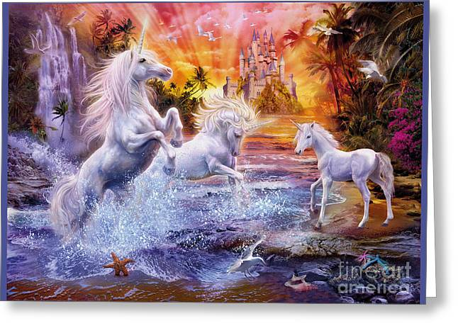 Fantasy Creature Digital Greeting Cards - Wild Unicorns Greeting Card by Jan Patrik Krasny