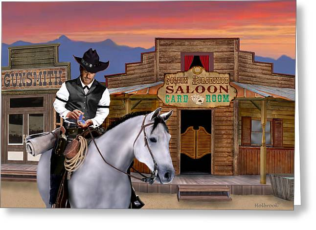 Gunsmith Greeting Cards - Wild West Gambler Greeting Card by Glenn Holbrook