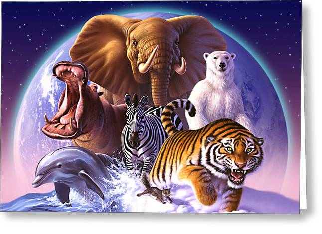 Tigers Digital Greeting Cards - Wild World Greeting Card by Jerry LoFaro