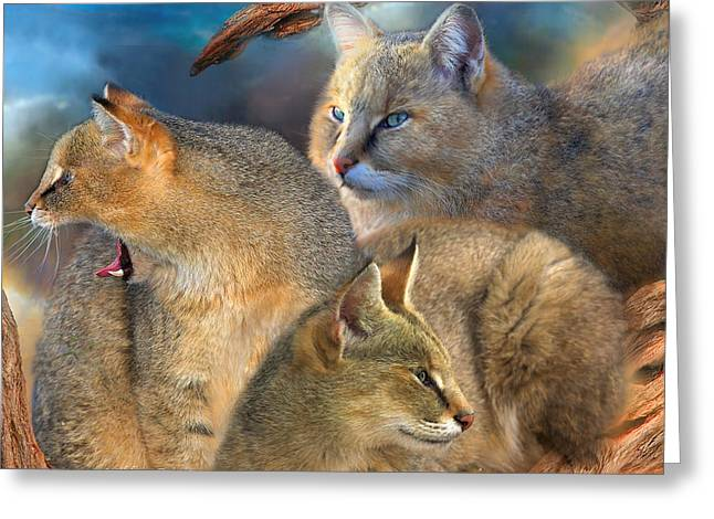 Wildcats Mixed Media Greeting Cards - Wildcat Day Greeting Card by Carol Cavalaris