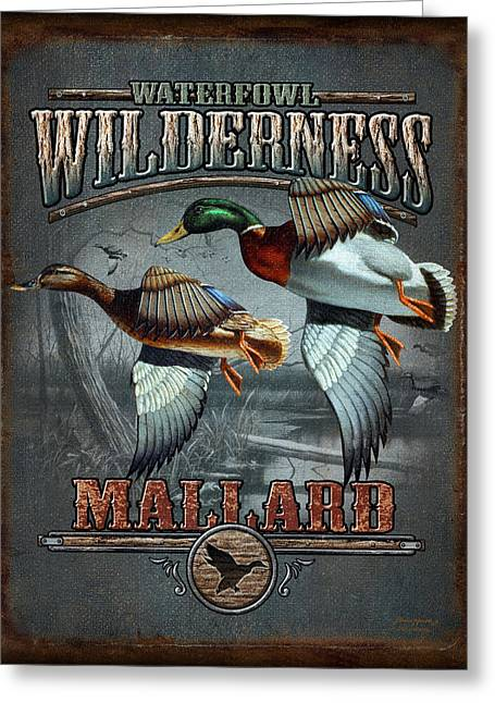 Antiques Sign Greeting Cards - Wilderness mallard Greeting Card by JQ Licensing