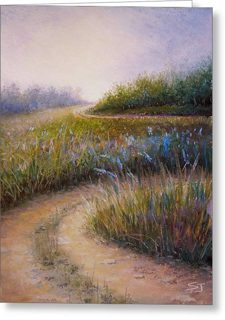 Lanscape Paintings Greeting Cards - Wildflower Road Greeting Card by Susan Jenkins