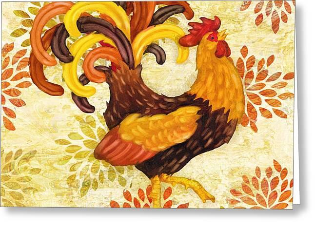 Orange Wildflower Greeting Cards - Wildflower Rooster III Greeting Card by Paul Brent