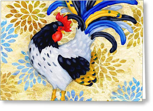 Orange Wildflower Greeting Cards - Wildflower Rooster IV Greeting Card by Paul Brent
