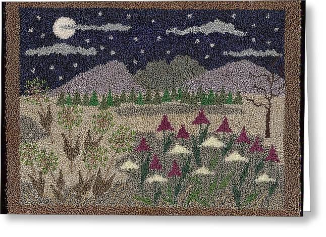 Primitive Tapestries - Textiles Greeting Cards - Wildflowers In The Moonlight Greeting Card by Jan Schlieper
