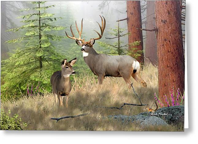 Wildlife Art - Magical Forest - Mule Deer Art Print Greeting Card by Dale Kunkel Art