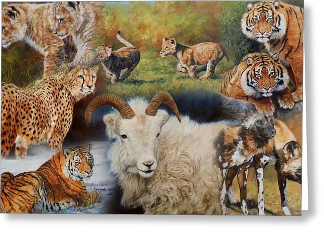 Lions Greeting Cards - Wildlife Collage Greeting Card by David Stribbling