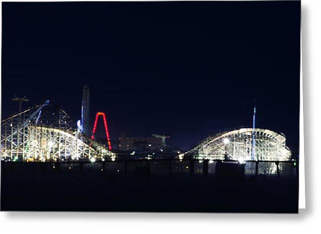 Beach Greeting Cards - Wildwood Adventure Pier at Night Greeting Card by Bill Cannon
