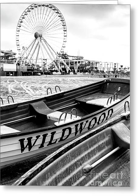 Amusements Greeting Cards - Wildwood Black Greeting Card by John Rizzuto