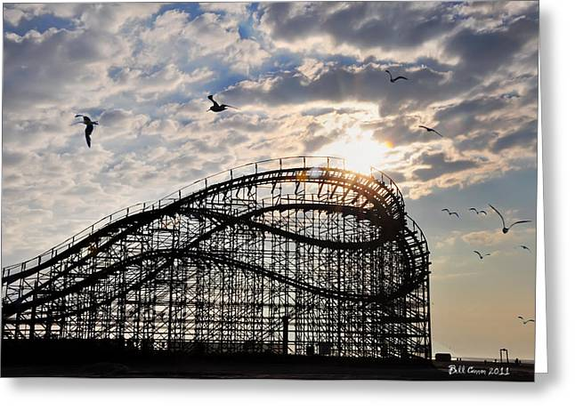 Great Birds Greeting Cards - Wildwood Roller Coaster Greeting Card by Bill Cannon