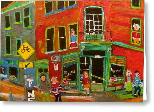 Litvack Greeting Cards - Wilensky and Bicycle Path Montreal Memories Greeting Card by Michael Litvack