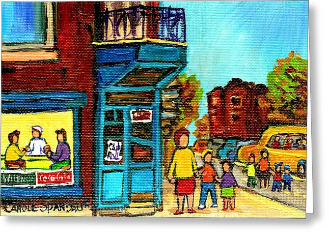 Montreal Pizza Places Greeting Cards - Wilenskys Counter With School Bus Montreal Street Scene Greeting Card by Carole Spandau