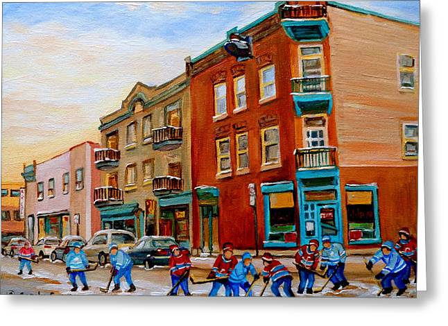 Carole Spandau Montreak Streetscene Specialist Greeting Cards - Wilenskys Diner Hockey Game In Progress Greeting Card by Carole Spandau