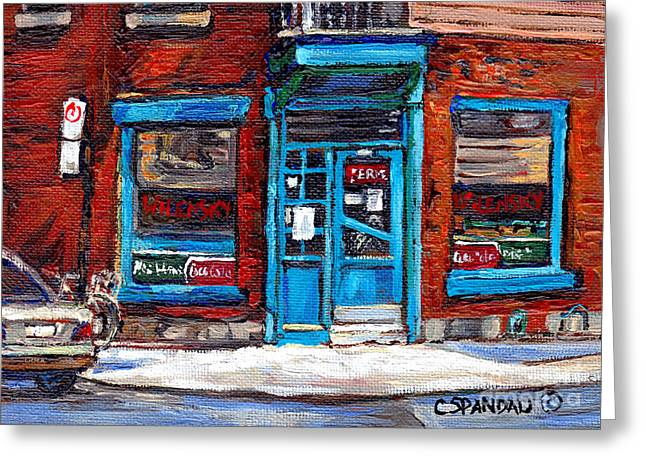 Montreal Eateries Greeting Cards - Wilenskys Doorway With Bicycle Montreal Memories Best Original Canadian Paintings For Sale Cspandau Greeting Card by Carole Spandau