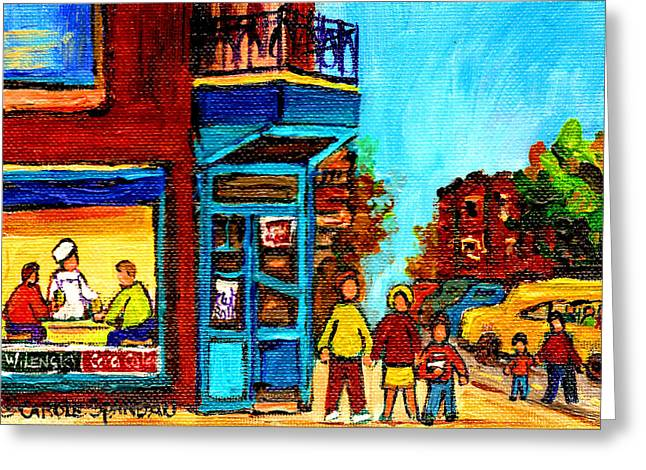Take-out Greeting Cards - Wilenskys Lunch Counter With School Bus Montreal Street Scene Greeting Card by Carole Spandau