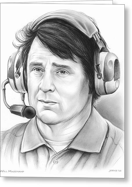Will Muschamp Greeting Card by Greg Joens