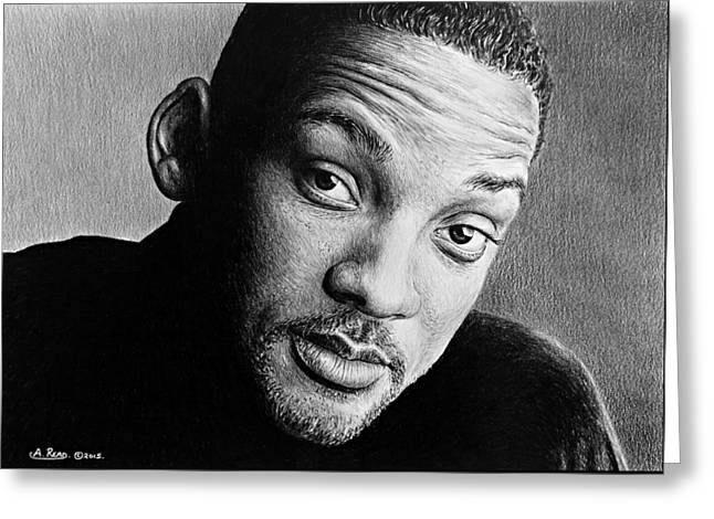 Hand Drawn Greeting Cards - Will Smith Greeting Card by Andrew Read