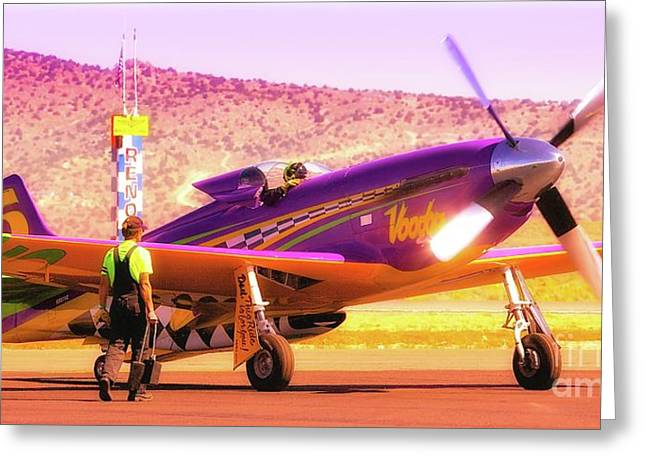 Reno Air Races Greeting Cards - Will Whiteside and P-51 Mustang Voodoo Greeting Card by Gus McCrea