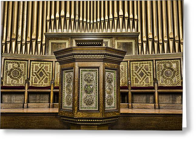 Willard Memorial Chapel Pulpit And Organ Greeting Card by Stephen Stookey