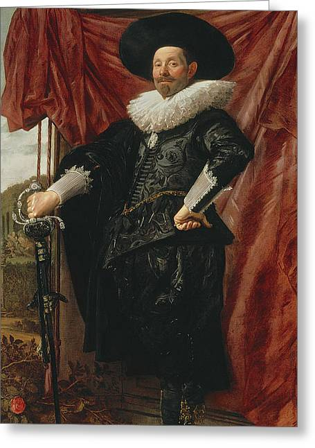 Hands On Hips Greeting Cards - Willem Van Heythuyzen Greeting Card by Frans Hals