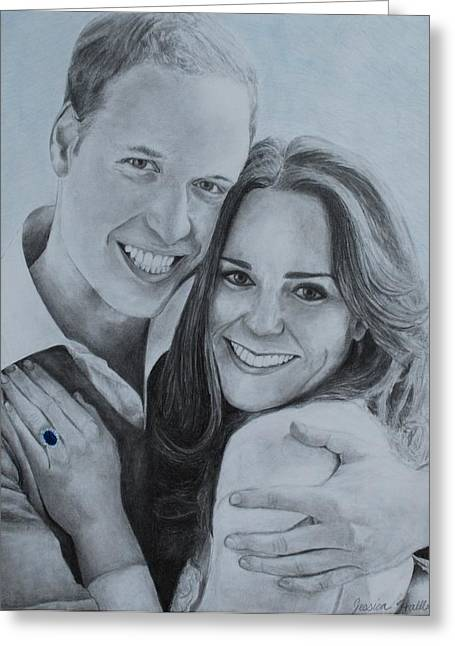 William And Kate Greeting Cards - William and Kate Greeting Card by Jessica Hallberg