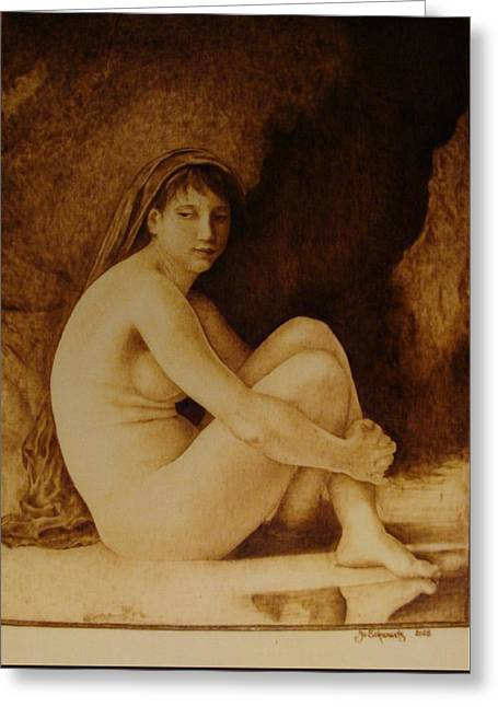 Woodburnings Pyrography Greeting Cards - William Bouguereau Seated Nude  Greeting Card by Jo Schwartz