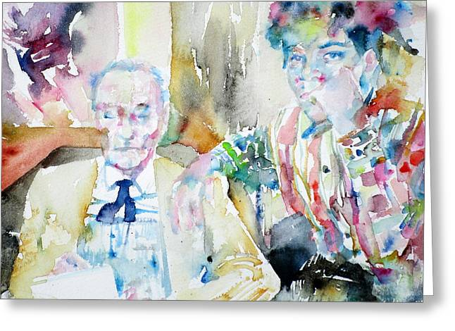 Basquiat Greeting Cards - WILLIAM BURROUGHS and BASQUIAT - watercolor portrait Greeting Card by Fabrizio Cassetta