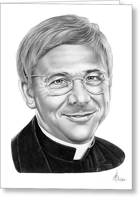 Christopher Drawings Greeting Cards - William Christopher-Father Mulcahey Greeting Card by Murphy Elliott