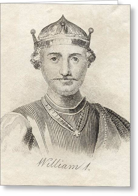 Norman Drawings Greeting Cards - William I The Conqueror 1027-1087 First Greeting Card by Ken Welsh
