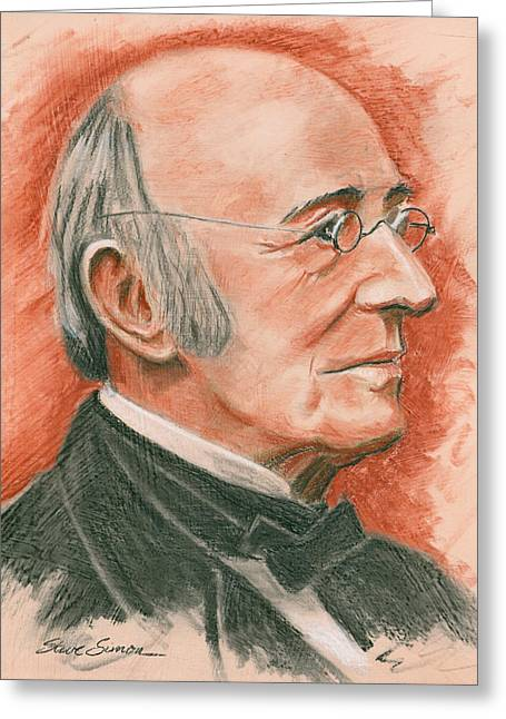 Abolitionist Paintings Greeting Cards - William Lloyd Garrison Greeting Card by Steve Simon