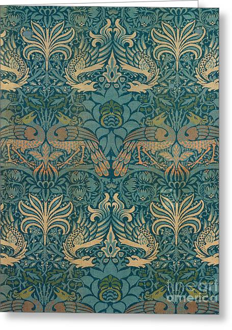 William Drawings Greeting Cards - William Morris Peacock and Dragon Textile Design Greeting Card by William Morris