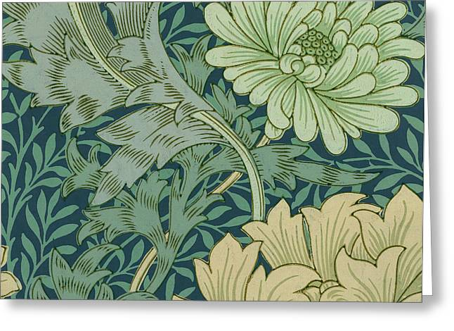 Yellow Leaves Greeting Cards - William Morris Wallpaper Sample with Chrysanthemum Greeting Card by William Morris