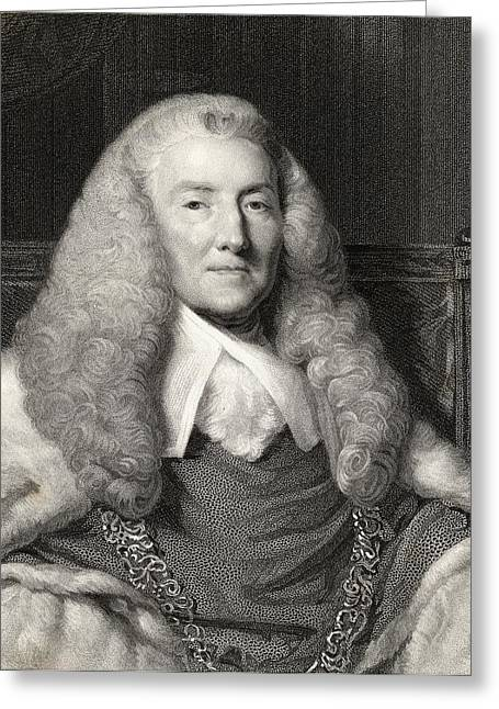 Chief Justice Drawings Greeting Cards - William Murray 1st. Earl Of Mansfield Greeting Card by Vintage Design Pics
