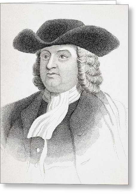 Quaker Greeting Cards - William Penn 1644-1718 English Quaker Greeting Card by Vintage Design Pics