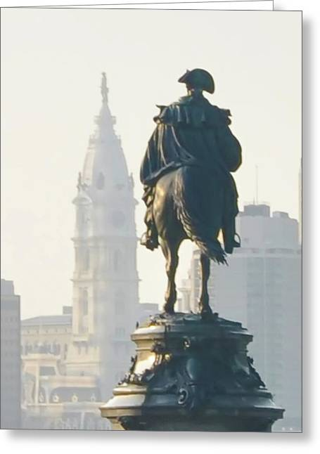 Penn Digital Art Greeting Cards - William Penn and George Washington - Philadelphia Greeting Card by Bill Cannon