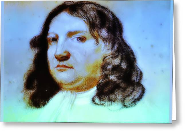 Penn Digital Art Greeting Cards - William Penn Portrait Greeting Card by Bill Cannon