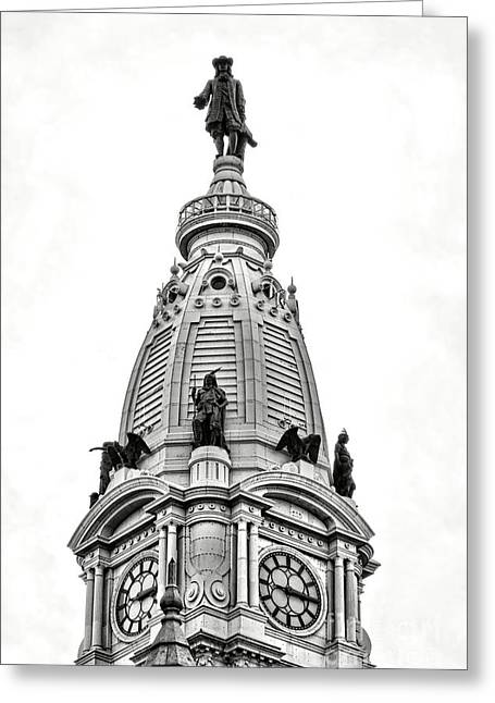 William Penn Statue Atop Philadelphia City Hall Greeting Card by Olivier Le Queinec