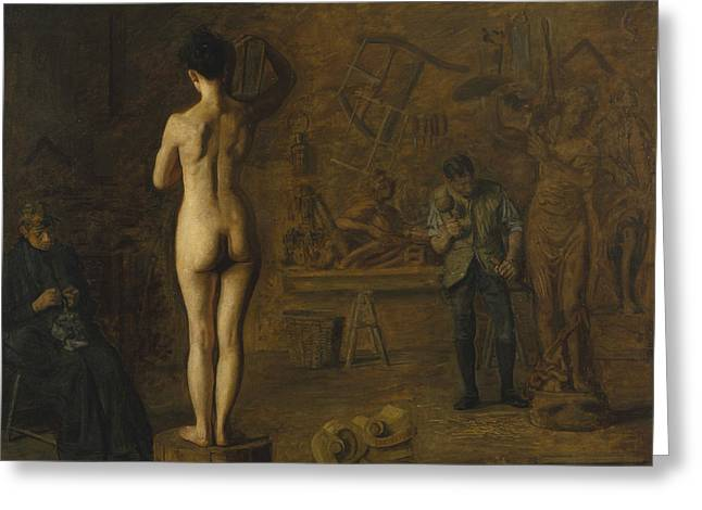 William Rush Carving His Allegorical Figure Of The Schuylkill River Greeting Card by Thomas Eakins