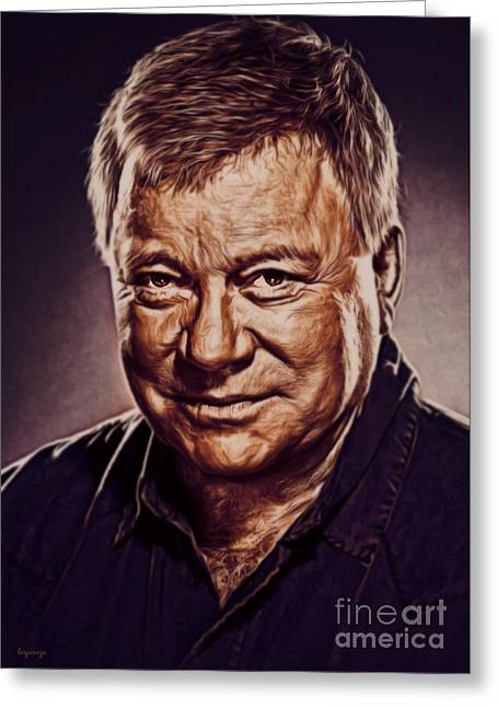Enterprise Digital Art Greeting Cards - William Shatner Greeting Card by Larry Espinoza