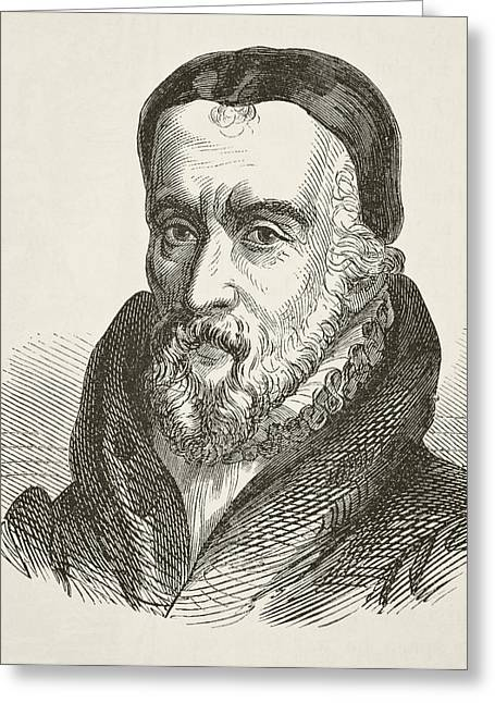 Reformer Drawings Greeting Cards - William Tyndale 1494 To 1536 Bible Greeting Card by Ken Welsh