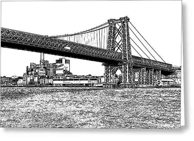 Williamsburg Greeting Cards - Williamsburg Bridge 1.1 - New York Greeting Card by Frank Mari
