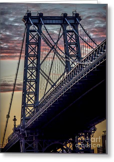 Grey Clouds Greeting Cards - Williamsburg Bridge Structure Greeting Card by James Aiken