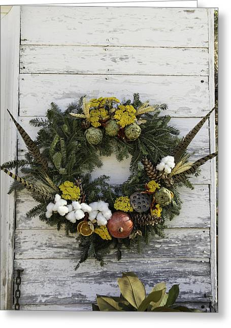 Lotus Seed Pod Greeting Cards - Williamsburg Wreath 09 Greeting Card by Teresa Mucha