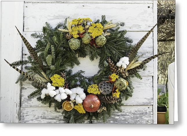 Lotus Seed Pod Greeting Cards - Williamsburg Wreath 09b Greeting Card by Teresa Mucha