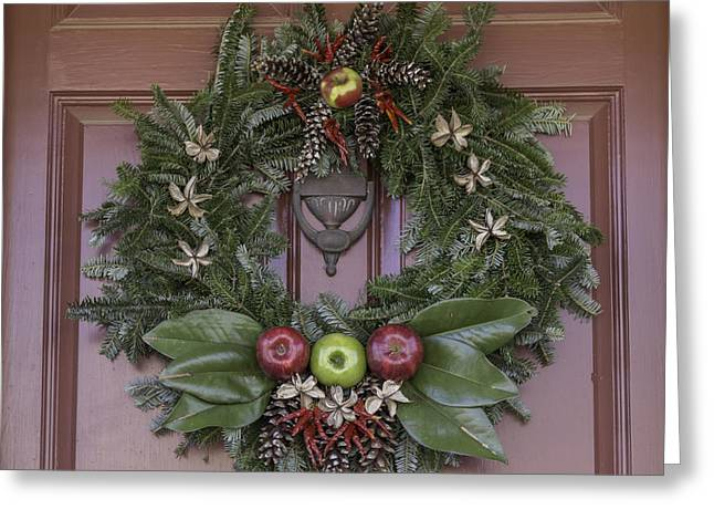 Transoms Greeting Cards - Williamsburg Wreath 11 Greeting Card by Teresa Mucha