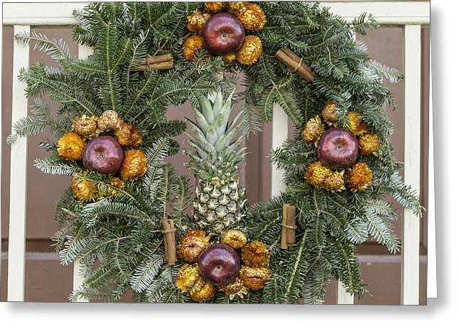 Transoms Greeting Cards - Williamsburg Wreath 12 Greeting Card by Teresa Mucha