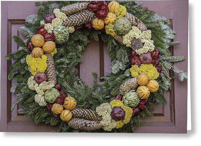 Carter House Greeting Cards - Williamsburg Wreath 17 Greeting Card by Teresa Mucha