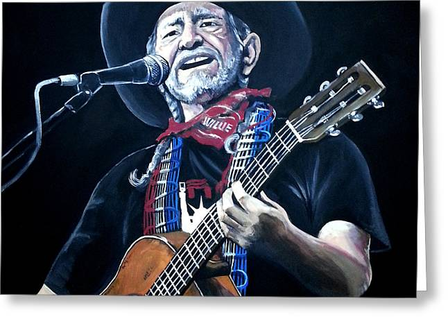 Carlton Greeting Cards - Willie Nelson 2 Greeting Card by Tom Carlton