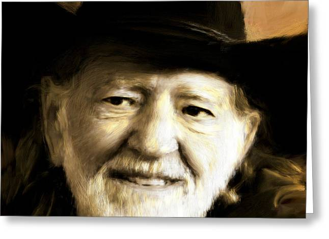 Van Goughs Ear Greeting Cards - Willie Nelson Greeting Card by Arne Hansen