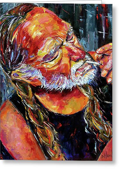 Palette Knife Greeting Cards - Willie Nelson Booger Red Greeting Card by Debra Hurd